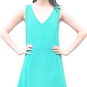 Sleeveless Crisscross Back Solid A-Line Dress